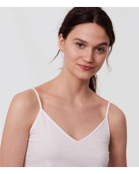 LOFT - White Petite V-neck Clean Cami - Lyst
