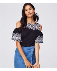 f35b2eafb76925 Lyst - LOFT Petite Eyelet Cold Shoulder Top in Black