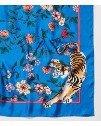 LOFT Blue Tiger Floral Silk Scarf