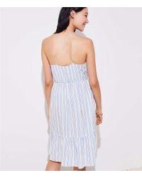 LOFT White Beach Striped Tassel Tie Halter Dress
