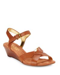 Lauren by Ralph Lauren Brown Laurissa Nappa Leather Wedge Sandals