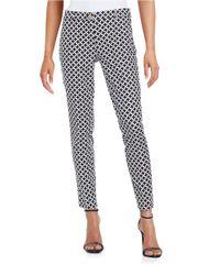 MICHAEL Michael Kors   Black Stretch Cotton Geometric-print Miranda Ankle Pants   Lyst