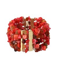 Kenneth Cole | Red Semiprecious Coral Bead Stretch Bracelet | Lyst