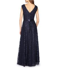 Tahari | Blue Allover Floral Applique Gown With Sash | Lyst