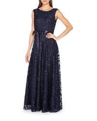 Tahari | Blue Floret Embellished Gown | Lyst