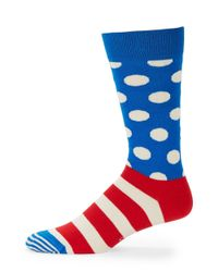 Happy Socks Blue Striped And Dotted Crew Socks for men