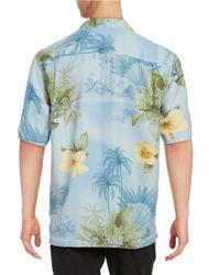 Tommy Bahama Blue Palm Print Sportshirt for men