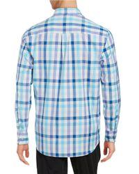 Tommy Bahama Blue Plaid Cotton Sportshirt for men
