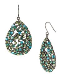 ABS By Allen Schwartz Metallic Crystal-encrusted Teardrop Earrings