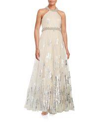 Badgley Mischka | Natural Metallic Butterfly Halter Gown | Lyst