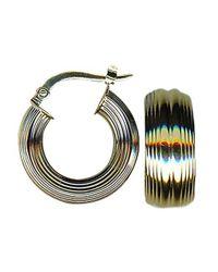 Lord & Taylor - Metallic 14k Yellow Gold Textured Hoop Earrings - Lyst