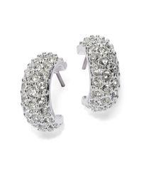 Lauren by Ralph Lauren | Metallic Small Pave Cuff Hoop Earrings - 0.5 In. | Lyst