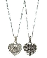 Judith Jack | Metallic Sterling Silver And Crystal Reversible Heart Pendant Necklace | Lyst