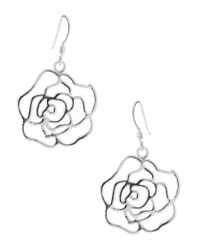 Lord & Taylor | Metallic Sterling Silver Rose Earrings | Lyst