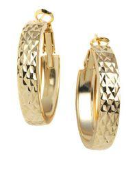 Lord & Taylor - Metallic 18 Kt Gold Plated Engraved Wide Hoop Earrings - Lyst