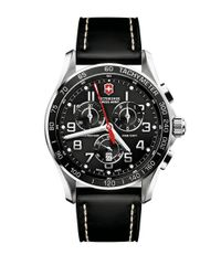 Victorinox   Black Classic Chronograph Watch With Leather Strap, 45mm for Men   Lyst
