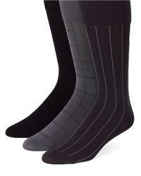 Calvin Klein | Black Three-pack Plaid And Striped Socks for Men | Lyst