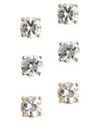 Lord & Taylor | White Three-pair Sterling Silver Cubic Zirconia Earrings | Lyst
