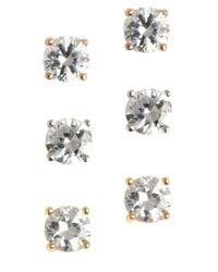 Lord & Taylor | Metallic Three-pair Sterling Silver Cubic Zirconia Earrings | Lyst