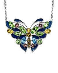 Lord & Taylor - Metallic Multi-stone Butterfly Necklace In Sterling Silver - Lyst