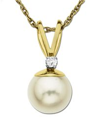 Lord & Taylor | Metallic Freshwater Pearl Pendant With Diamond Accent In 14 Kt. Yellow Gold 0.05 Ct. T.w. 6 Mm | Lyst