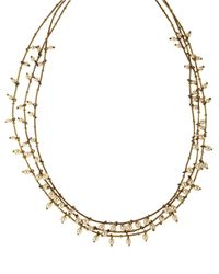 Anne Klein Metallic Goldtone And Faux Pearl Triple Strand Necklace