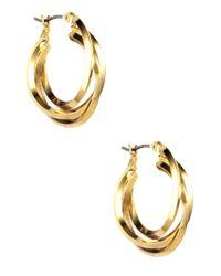 Anne Klein | Metallic Gold Plated Three Ring Hoop Earrings | Lyst
