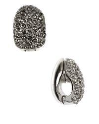Anne Klein   Metallic Silvertone Pave Crystal Clip-on Earrings   Lyst