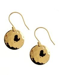Lord & Taylor | Metallic 18 Kt Gold Over Sterling Silver Hammered Disc Drop Earrings | Lyst