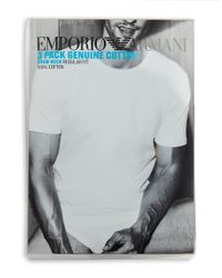 Emporio Armani Black Genuine Cotton Crew Neck T-shirts, 3-pack for men