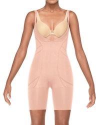 Spanx | Pink Slimmer & Shine Open-bust Mid-thigh Bodysuit | Lyst
