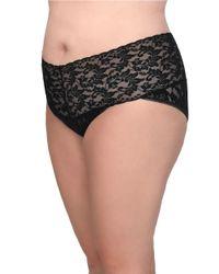 Hanky Panky Black Plus Size Retro Lace V-kini Panty