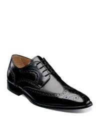 Florsheim | Black Sabato Leather Wingtip Oxfords for Men | Lyst
