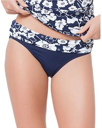 Anne Cole | Blue Floral And Solid Swim Bottom | Lyst
