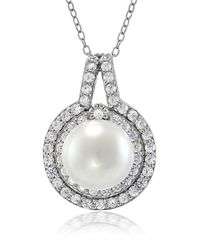 Lord & Taylor - Metallic Faux Pearl, Cubic Zirconia And Sterling Silver Halo Pendant Necklace - Lyst