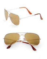 Steve Madden | Metallic 63mm Aviator Sunglasses | Lyst