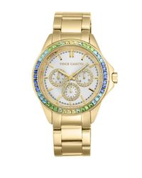 Vince Camuto | Metallic Goldtone Stainless Steel Multi-color Crystal Chronograph, Vc-5086mtgb | Lyst