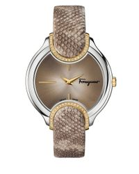 Ferragamo | Brown Diamond-accented Stainless Steel Embossed-leather Strap Watch, Fiz060015 | Lyst