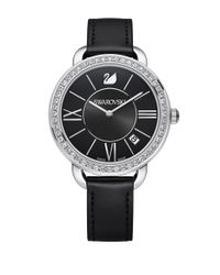 Swarovski - Black Aila Day Pave And Stainless Steel Leather-strap Watch - Lyst
