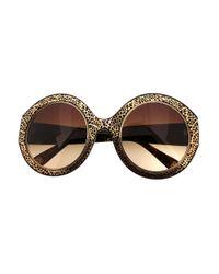 Oscar de la Renta Black 54mm Filigree Round Sunglasses