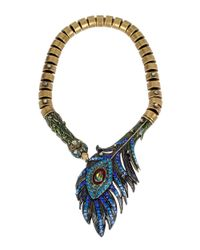 Betsey Johnson - Blue Peacock Statement Necklace - Lyst