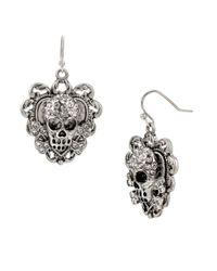 Betsey Johnson | Metallic Throwback Skull Drop Earrings | Lyst
