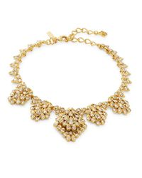 Oscar de la Renta   Red Goldtone Crystal Cluster Collar Necklace   Lyst