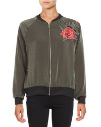 Lord & Taylor | Green Floral-embroidered Bomber Jacket | Lyst