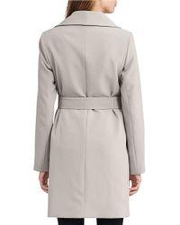 Lauren by Ralph Lauren | Gray Crepe Open Front Coat | Lyst