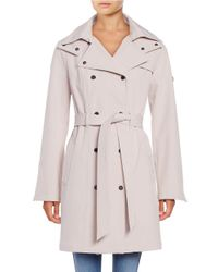 Calvin Klein | Multicolor Petite? Hooded Double-breasted Trench Coat | Lyst