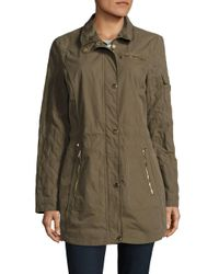 Laundry by Shelli Segal | Green Quilted-sleeve Hooded Jacket | Lyst