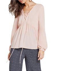 BCBGeneration | Pink V-neck Lace-up Top | Lyst