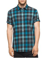 Calvin Klein | Blue Button-down Plaid Shirt for Men | Lyst