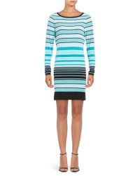 MICHAEL Michael Kors | Green Long Sleeve Striped Sheath Dress | Lyst